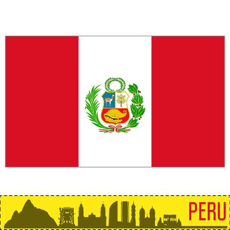 Vector bandera muy detallada de Perú con la silueta del país. EPS 10
