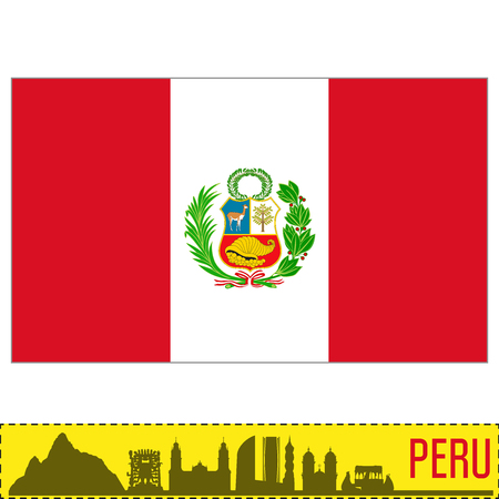 Vector highly detailed flag of Peru with silhouette of the country. EPS 10