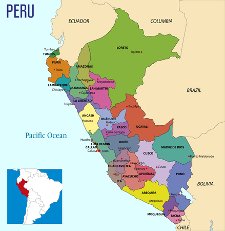 Vector highly detailed political map of Peru with regions and their capitals. All elements are separated in editable layers clearly labeled.EPS 10 Illustration