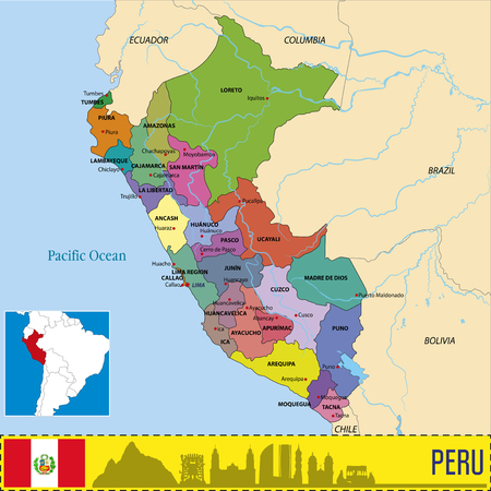Vector highly detailed political map of Peru with regions and their capitals. All elements are separated in editable layers clearly labeled.EPS 10 Illusztráció