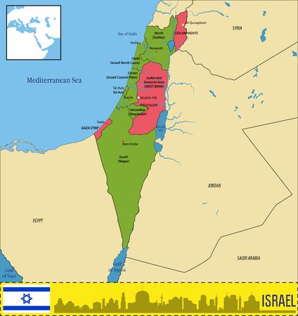 Carte politique très détaillée de vecteur d'Israël avec les régions et leurs capitales. Tous les éléments sont séparés en couches modifiables clairement étiquetées.