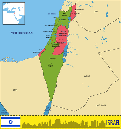 Vector highly detailed political map of Israel with regions and their capitals. All elements are separated in editable layers clearly labeled.EPS 10 Illustration