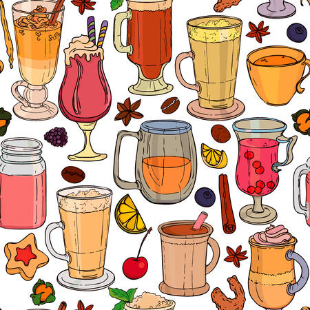 Different types of coffee and tea in cups. Seamless vector background. Illustration