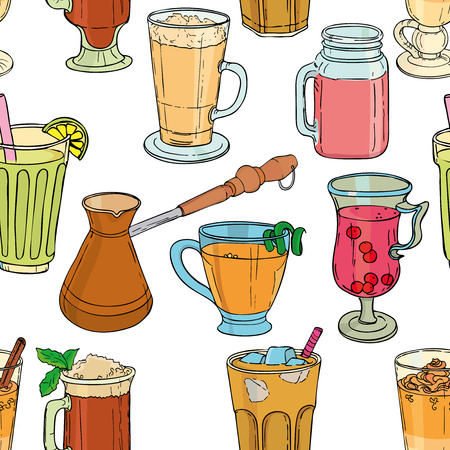 Different types of coffee in cups. Coffee background. Vector outline 矢量图像