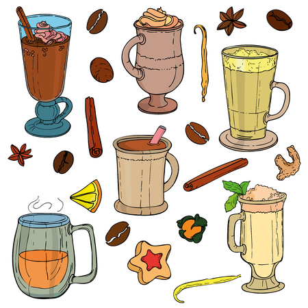 Different types of coffee in cups. Coffee background. Vector outline Ilustração
