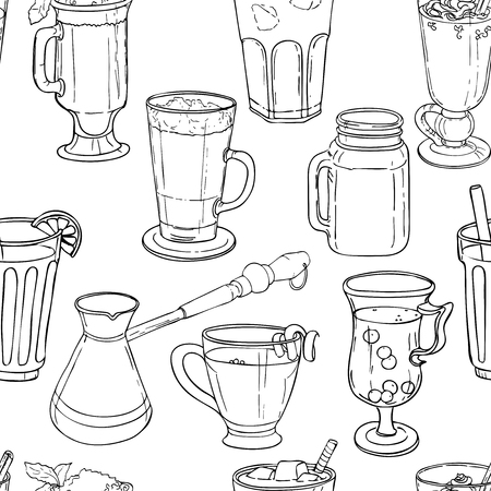 Different types of coffee in cups. Coffee background. Vector outline Stock Illustratie