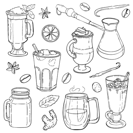 Different types of coffee in cups. Coffee background. Vector outline Illustration