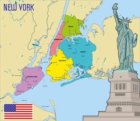 Vector highly detailed political map of New York with all regions, roads and rivers. All elements are separated in editable layers clearly labeled.EPS 10
