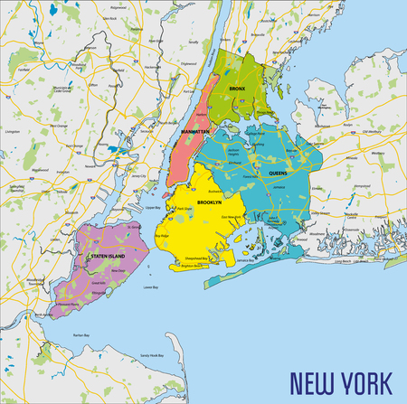 Vector highly detailed political map of New York with all regions, roads and rivers. All elements are separated in editable layers clearly labeled.EPS 10 Stock fotó - 105722826