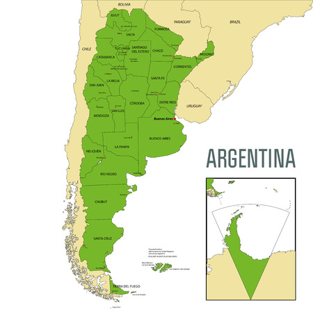 Political vector map of Argentina with all regions and their capitals