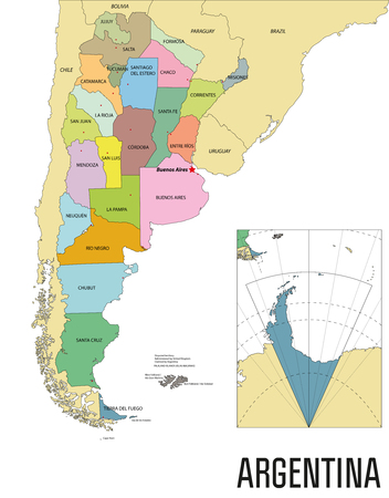 Political vector map of Argentina with all regions and their capitals Banque d'images - 104761234