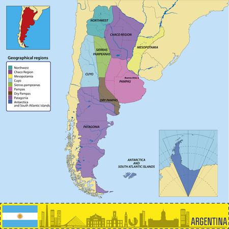 Mapa wektorowa Argentyny ze wszystkimi regionami geograficznymi Ilustracje wektorowe