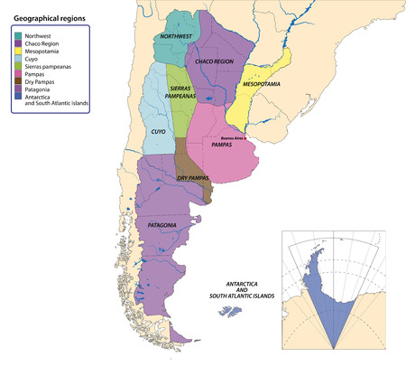 Vector map of Argentina with all geographical regions Иллюстрация