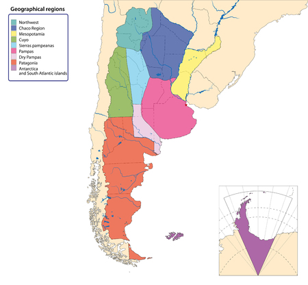 Vector map of Argentina with all geographical regions Illustration