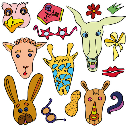 The linear vector children's illustration set of cute animals.