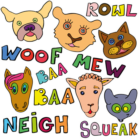 The linear childrens illustration set of cute animals. Animals and their sounds