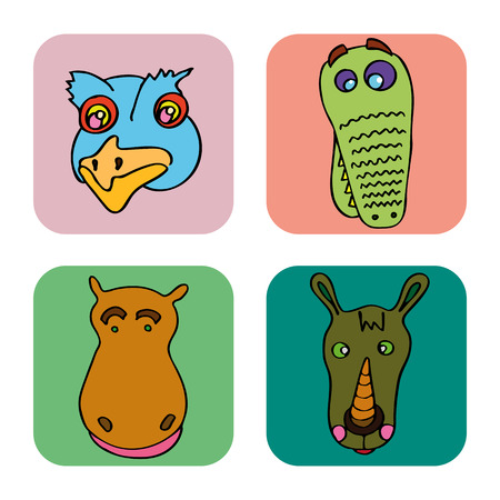 The linear childrens illustration set of cute animals.