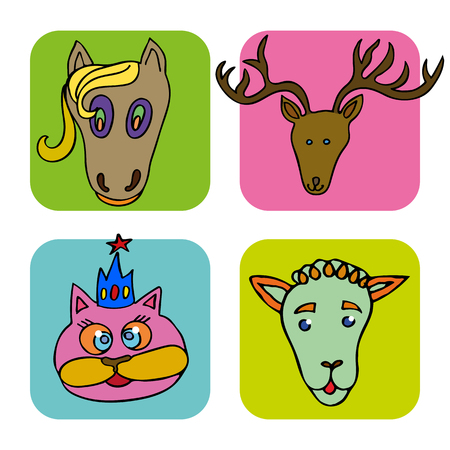 The linear children's illustration set of cute animals.