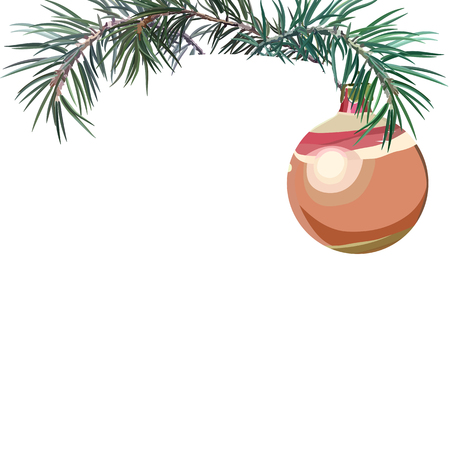 Card with fir tree. Postcard for New Year and Christmas. Vector illustration, EPS 10. 免版税图像 - 127429050