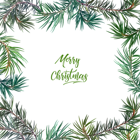 Frame with fir tree. Perfect for New Year and Christmas. Vector illustration, EPS 10. Illustration