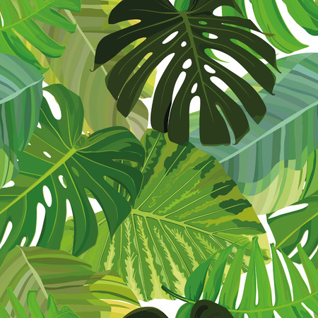 Seamless background with tropical leaves. Perfect for scrapbooking. Vector illustration, EPS 10
