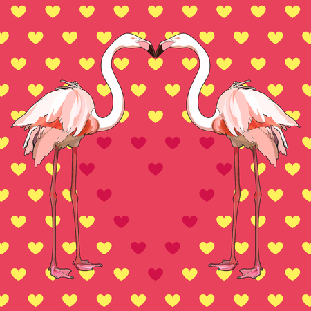 Postcard for Valentines Day with flamingo. Vector, EPS 10