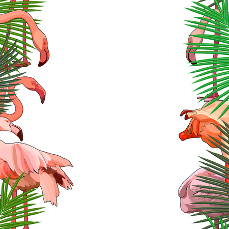Seamless background with flamingos in the leaves. Vector illustration, EPS 10