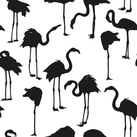 Seamless background with black silhouettes of flamingos. Vector collection of silhouettes of flamingos. EPS 10 Illustration