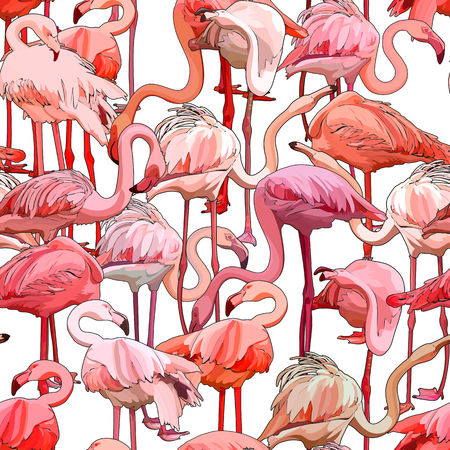 Nahtloser Hintergrund mit Flamingos. Vektor-Illustration, EPS 10 Vektorgrafik