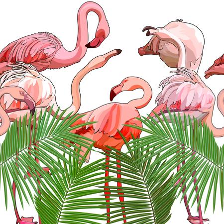 Nahtloser Hintergrund mit Flamingos. Vektor-Illustration, EPS 10