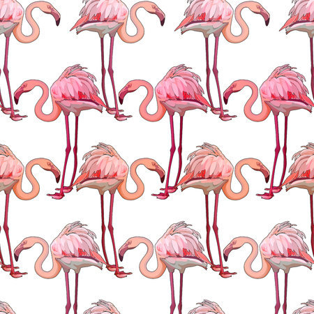Seamless background with flamingos. Vector illustration, EPS 10