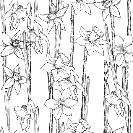 Seamless background with narcissuses. Perfect for scrapbook. Vector illustration, EPS 10 Illustration
