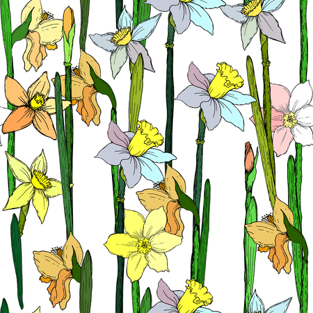 Seamless background with narcissuses. Perfect for scrapbook. Vector illustration, EPS 10 Stock Illustratie
