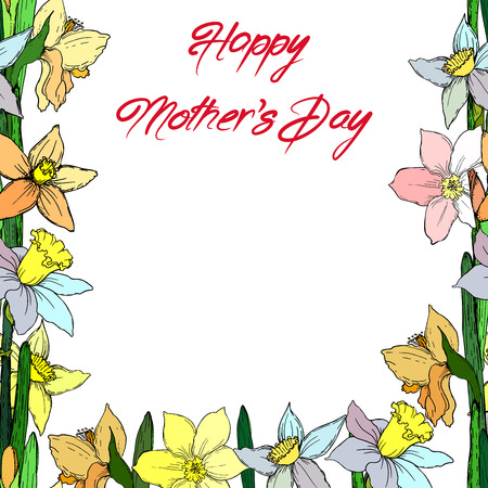 Greeting card for Mothers Day. Happy Mothers Day. Vector illustration, EPS 10 Illustration