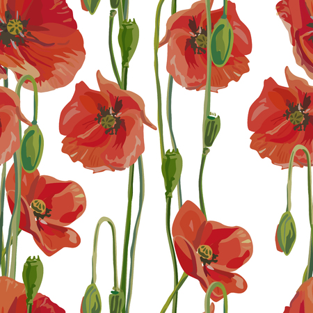 Seamless background with poppies. Perfect for scrapbook. Vector illustration, EPS 10 Illustration