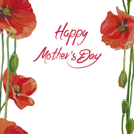 Vertical seamless background with flowers. Greeting card for Mothers Day. Vector illustration, EPS 10