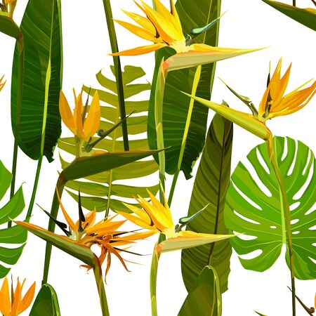 Seamless background with Strelitzia Reginae, orange tropical flower bouquets vector set isolated on white. Green leaves, orange and violet blossom design set. Vector illustration, EPS 10 免版税图像 - 125807234