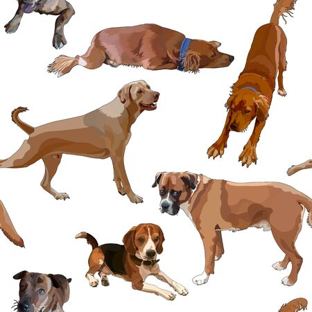 Seamless background with dogs.