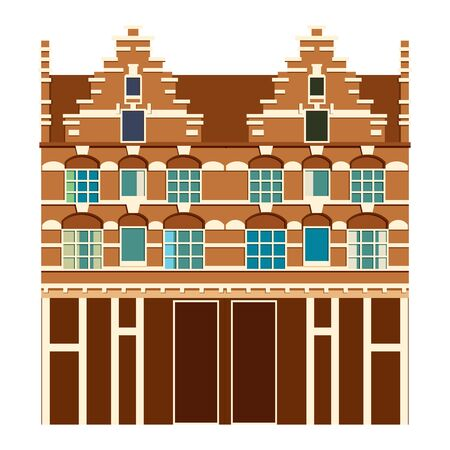 Traditional architecture of Netherlands. Historic buildings city town, Amsterdam panorama, Holland. Vector illustration, EPS 10. 免版税图像 - 142565229