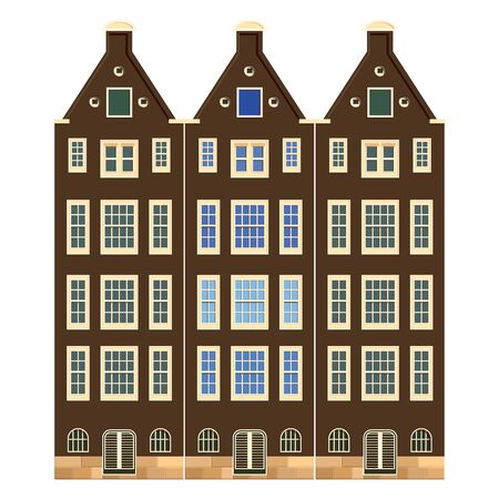 Traditional architecture of Netherlands. Historic buildings city town, Amsterdam panorama, Holland. Vector illustration, EPS 10.