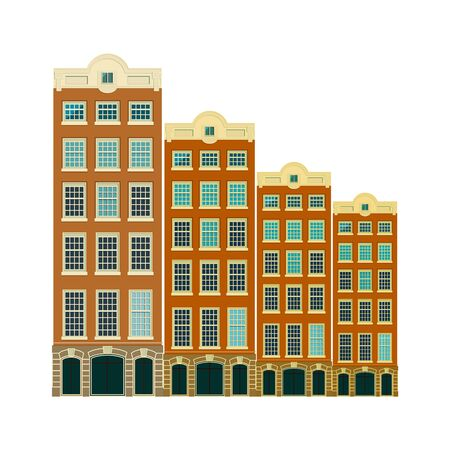 Traditional architecture of Netherlands. Historic buildings city town, Amsterdam panorama, Holland. Vector illustration, EPS 10. 免版税图像 - 142565018