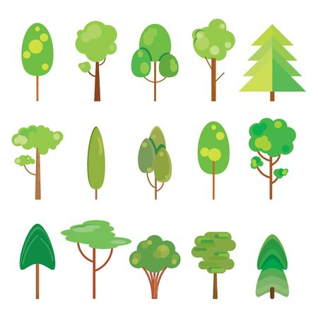Collection of trees. Flat design. Vector illustration, EPS 10. 向量圖像