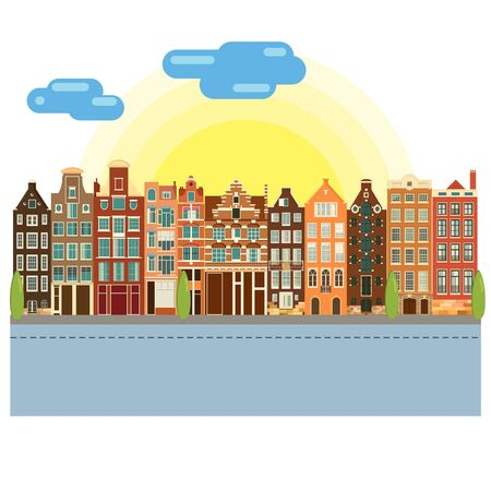 Traditional architecture of Netherlands. Historic buildings city town, Amsterdam panorama, Holland. Vector illustration, EPS 10. 免版税图像 - 142565097