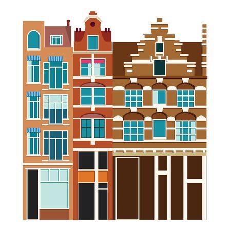 Architecture traditionnelle des Pays-Bas. Ville de bâtiments historiques, panorama d'Amsterdam, Hollande. Illustration vectorielle, Eps 10.