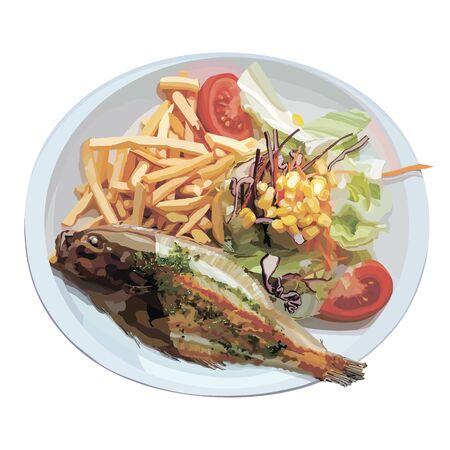 Fried fish with fries and salad in the plate. Vector illustration. Useful for decorating menu pages. Stock Illustratie
