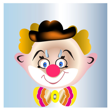 Illustration of a smiling clown with a beautiful bow-vector Illustration