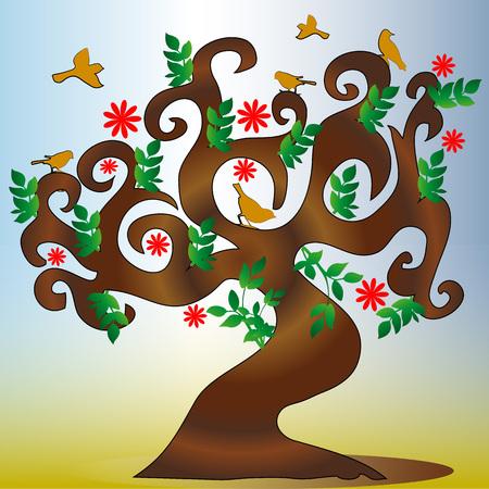 Schöne ethische Baumsilhouette und -vögel, die auf Niederlassungen sitzen - Vektorillustration Standard-Bild - 79266971