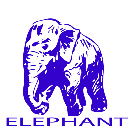 Elegance of the ELEPHANT, the color is blue SILHOUETTE ON THE WHITE BACKGROUND VECTOR.