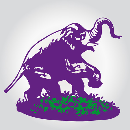 Elegance of the ELEPHANT, color lilac SILHOUETTE-VECTOR.