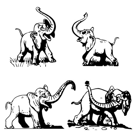 ELEPHANT COLLECTION OF SILHOUETTE MULTIFILM ON A WHITE BACKGROUND-Vector. Ilustrace